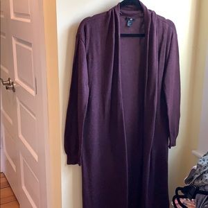 Long Brown Ted Tone Open Front Cardigan H&M S